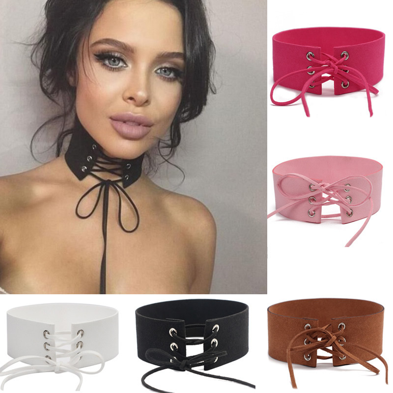 YYW Hot Sale Punk Gothic Velvet Imitation Colors Leather Choker Necklace Sexy Wrap Tie Up Lace Up Chokers Lady Necklace Jewelry