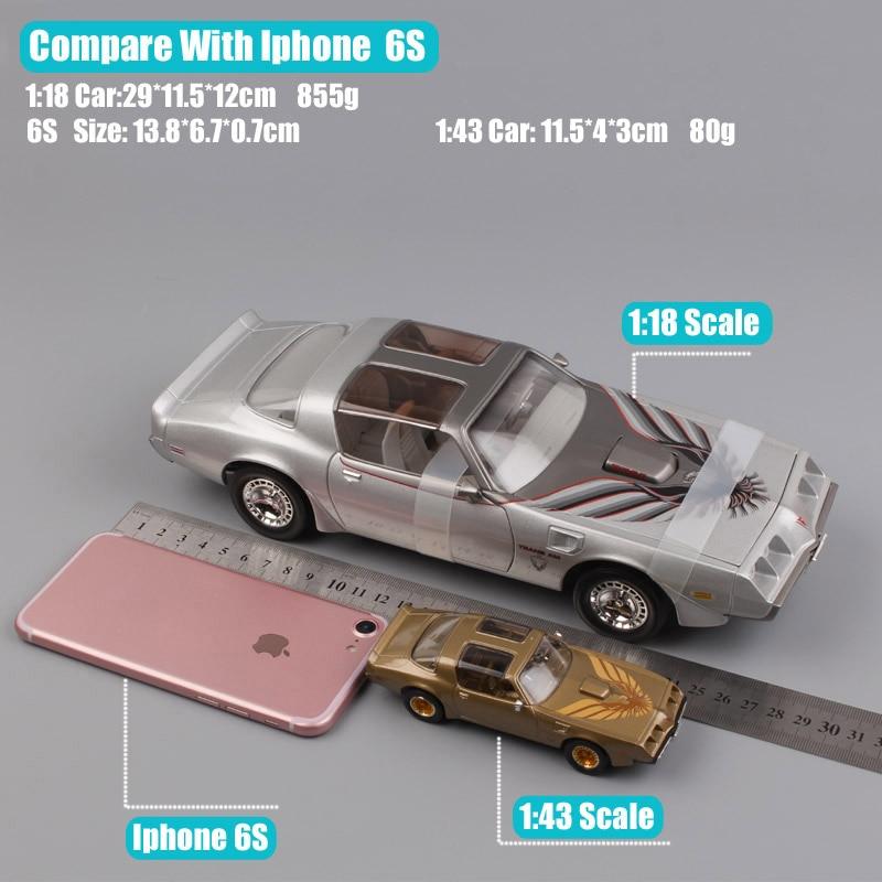 1:18 big Scale brand luxury large Miniature Pontiac 1979 Firebird trans AM vintage car diecast models toy for boy Gold Silver