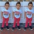 Moda verão Crianças Meninos Roupas set Carta Ocasional T-shirt E calças vermelhas 2 pcs bebê meninos roupas set 1-7 anos crianças roupas