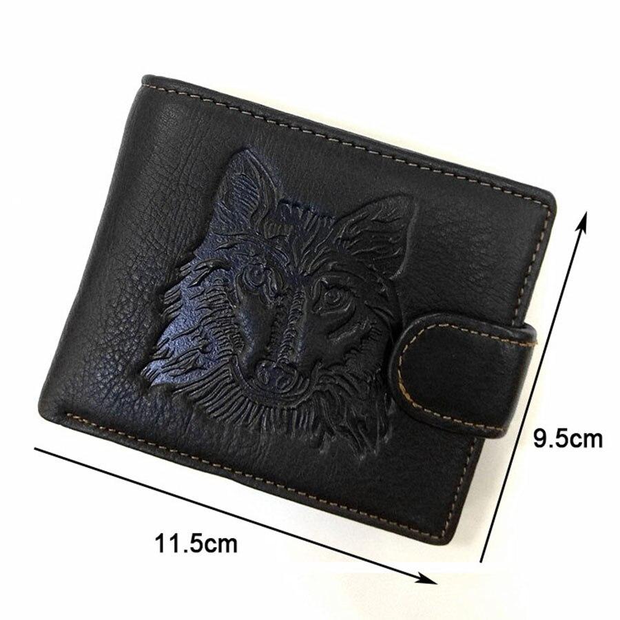 8f785805ac0d1 Mężczyzna Prawdziwy Skórzany portfel 3D Wilk wzór Retro osobowości Mężczyzn  Portfele Monety posiadacz karty Torba najlepszy