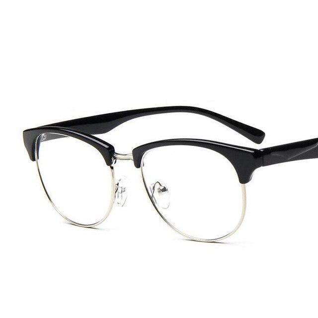 b2b951bf34cb Half Rim Plastic Metal Gold Prescription Eyewear Oversized Women Men Frame  Glasses Thin Leg Eyeglass Decorative