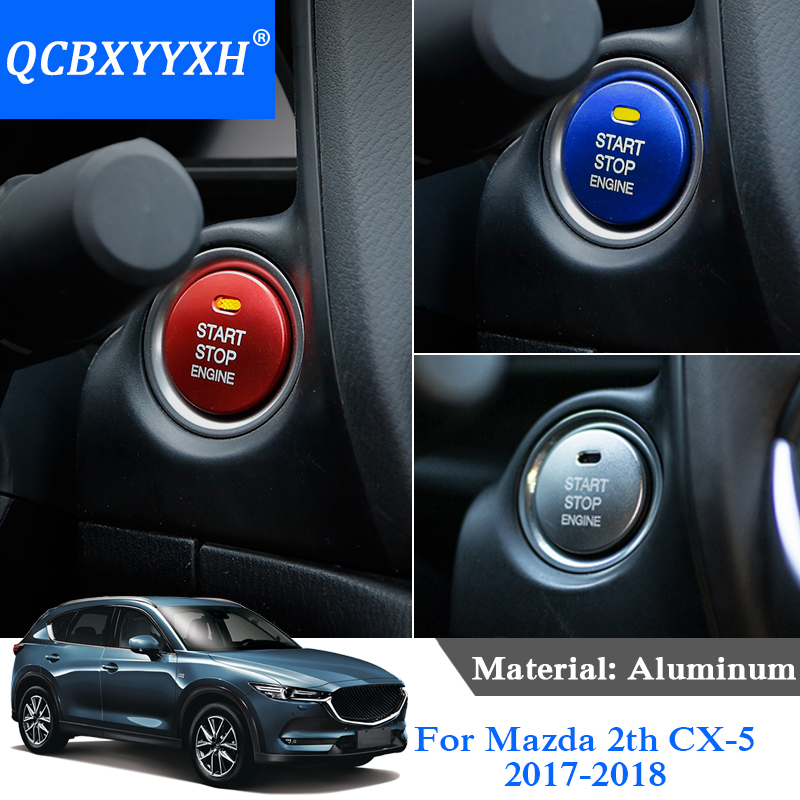 QCBXYYXH Car Styling 5 Colors Aluminum Internal Ignition Switch Cover For Mazda CX-3 CX-5 CX-8 CX-9 Atenza Axela Car Accessories custom made car floor mats for mazda 3 axela 6 atenza 2 cx 5 3d car styling high quality all weather full cover carpet rug liner