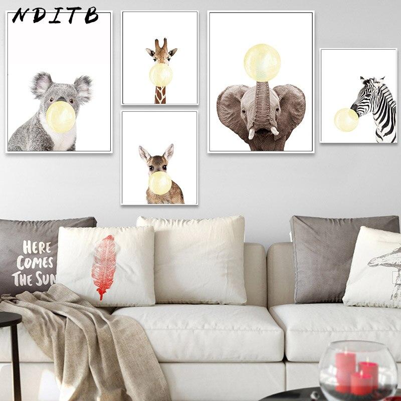 Baby Animal Gum Bubble Zebra Giraffe Nurser Poster Wall Art Canvas Print Picture