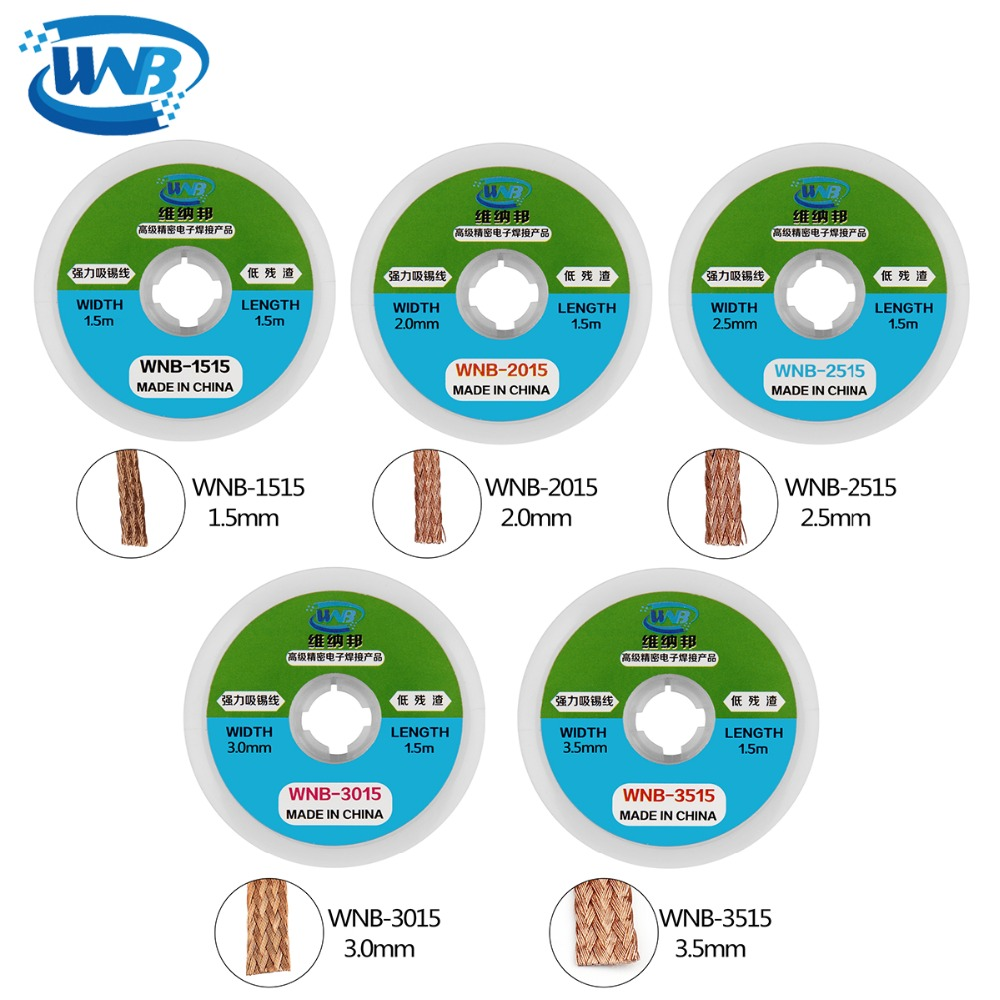 WNB 1.5m Solder Braid Soldering Remover Wick Low-residue Clean Tin Strip Professional Welding Flux Paste Repair Tools Accessory