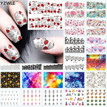 YZWLE 1 Sheet DIY Designer Water Transfer Nails Art Sticker Accessories, 42 Styles For Choose