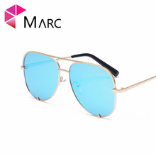 MARC UV400 WOMEN MEN Sunglasses Blue Gradient Mirror Fashion Siver Pilot Classic Brand Designer Resin Alloy Eyeglass Vintage