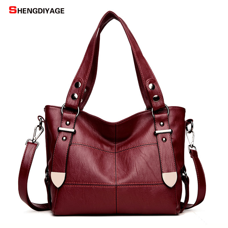SHENGDIYAGE brand Women Bag female Top-handle bags Designer Leather Shoulder Bag Women Handbag Big Capacity Casual Tote Bags Sac foroch brand women bag top handle bags female handbag designer hobo messenger shoulder bags evening bag leather handbags sac 352