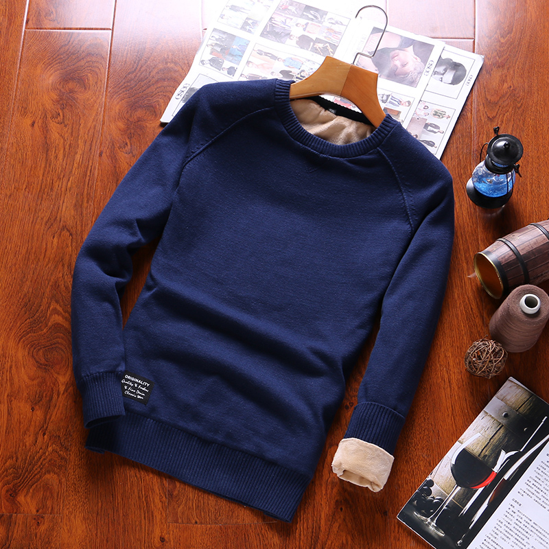 2019 Men's  Pullovers O-Neck  Sweater  Solid 100% Cotton  Sweater's For Men Autumn Long Sleeve  Casual  Pullovers Male Newest