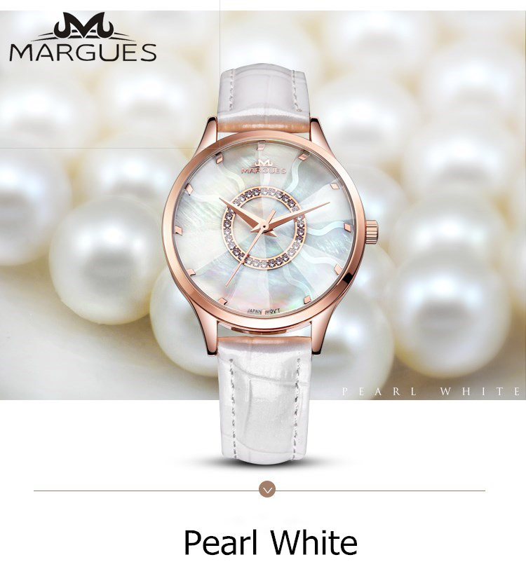 2018 new MARGUES brand Quartz watch for women Water wave Symphony dial fashion watches casual Slub pattern leather strap 033