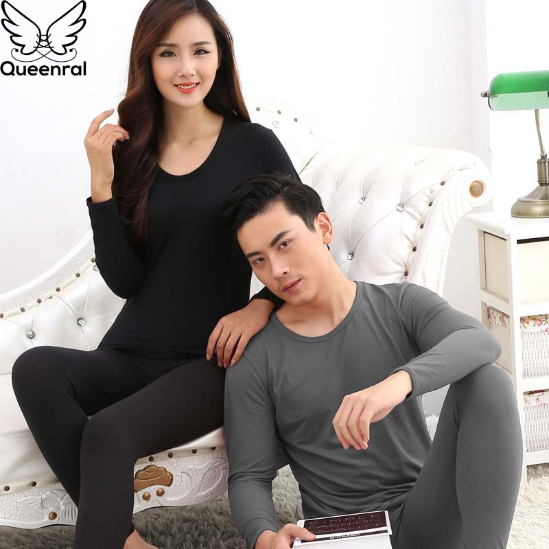 Queenral Long Johns For Male Female Warm Thermal Underwear Set Winter Warm Clothing Plus Size L - XXXL Second Skin Winter Male