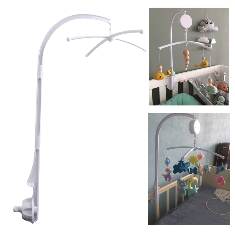 Baby Crib Holder White Rattles Arm Bracket Set Cot 360 Degree Rotating Cribs Bed Bell Toy Wind-up Baby Rotary Mobile Music Box