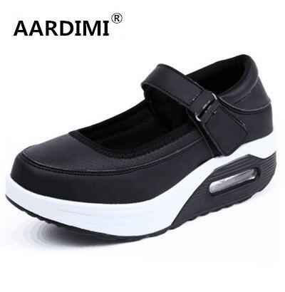 Nuevo 2017 transpirable mujeres zapatos de plataforma de primavera y verano hebilla shallow enredaderas de las mujeres laides zapatos solid 5 tipos