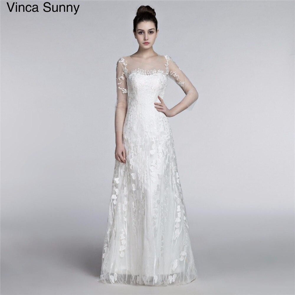 Latest Fashion Wedding Gowns: New Fashion Simple 2018 Wedding Dresses Lace Three Quarter