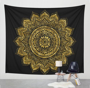 Image 2 - Nuevo estampado de tapiz de loto mándala Bohemia, tapiz colgante de pared para decoración de pared, tapiz Hippie, estera de playa, estera de Yoga