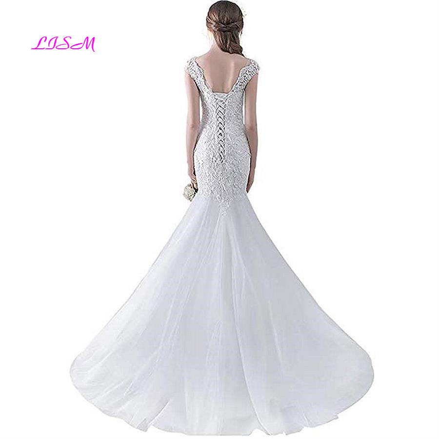 Sexy Mermaid Long Wedding Dresses for Bride Lace Spaghetti Straps Bodice Bridal Gowns Lace up Back Sweep Train Wedding Dresses