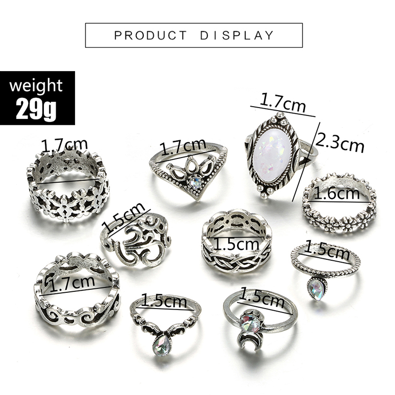 HuaTang Bohemian Antique Silver Ring Geometric Elephant Flower Green Rhinestone Knuckle Rings Midi Finger Anel Rings Jewelry 104