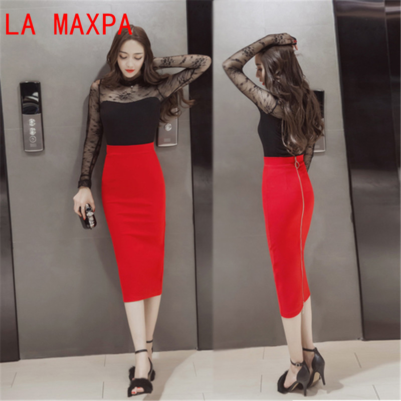 e78336768e3d0 5XL Plus Size Women Pencil Skirts Autumn 2017 Elegant High Waist Bodycon  Skirt Korean Fashion Zipper Elastic Work Office Skirt-in Skirts from Women s  ...