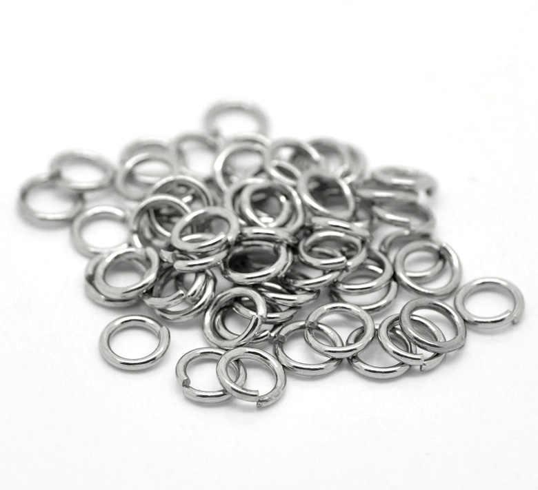 Moda 500 Uds tono plata Acero inoxidable círculo abierto anillos de salto DIY collar pulsera fabricación de joyas accesorios 7mm x 1,2mm