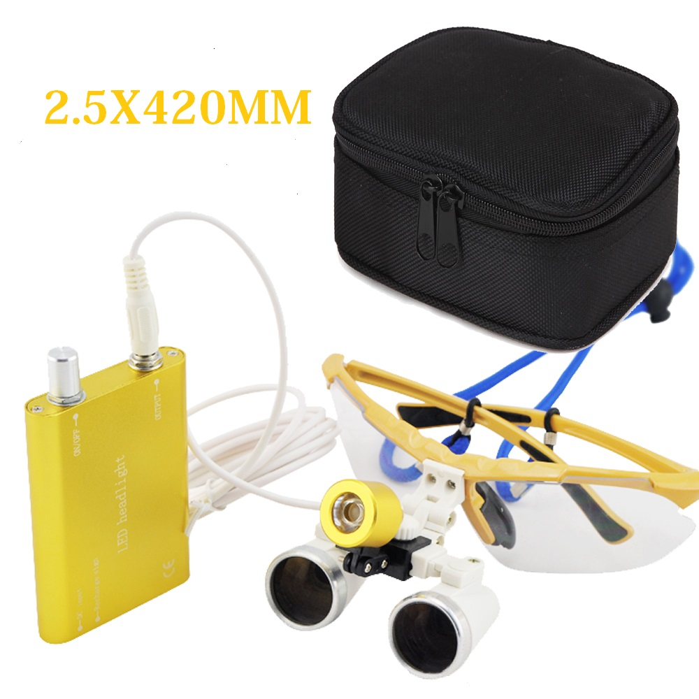 Dentist Dental Supply 2.5X 420mm Surgical Medical Binocular Loupes Optical Glass Loupe + LED Head Light Lamp + Protective Case