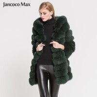 2019 New Women Luxury Real Fox Fur Long Coat With Hood Winter Keep Warm High Quality Fur Jacket Outerwear S7364