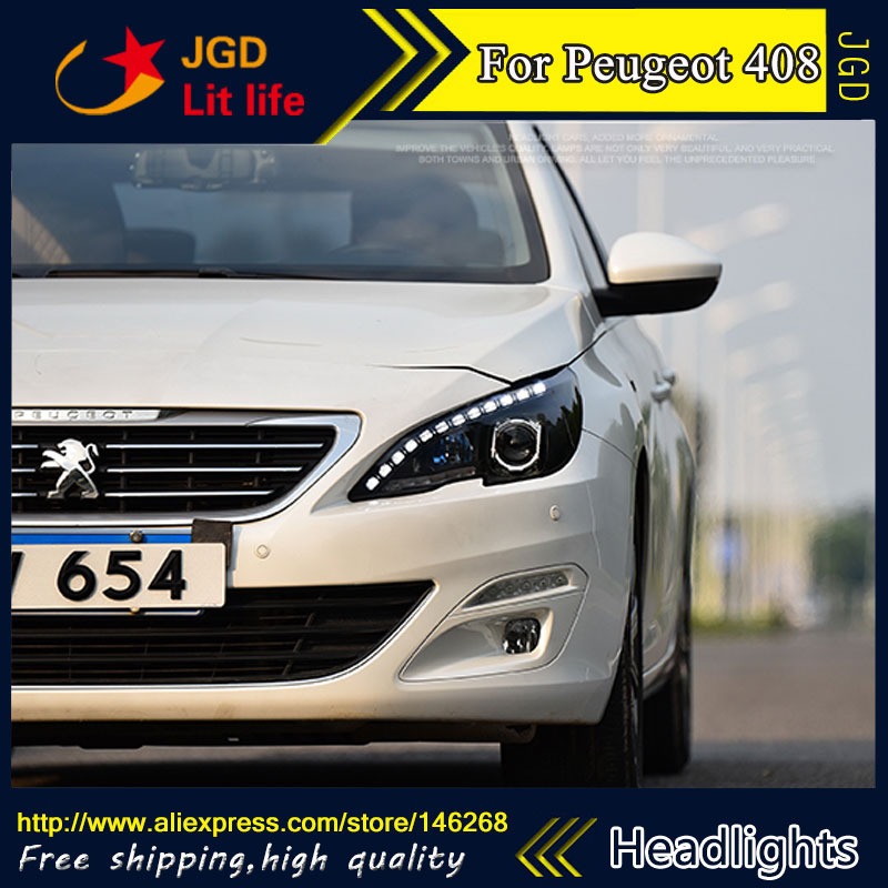 Free shipping ! Car styling LED HID Rio LED headlights Head Lamp case for Peugeot 408 2014-2016 Bi-Xenon Lens low beam