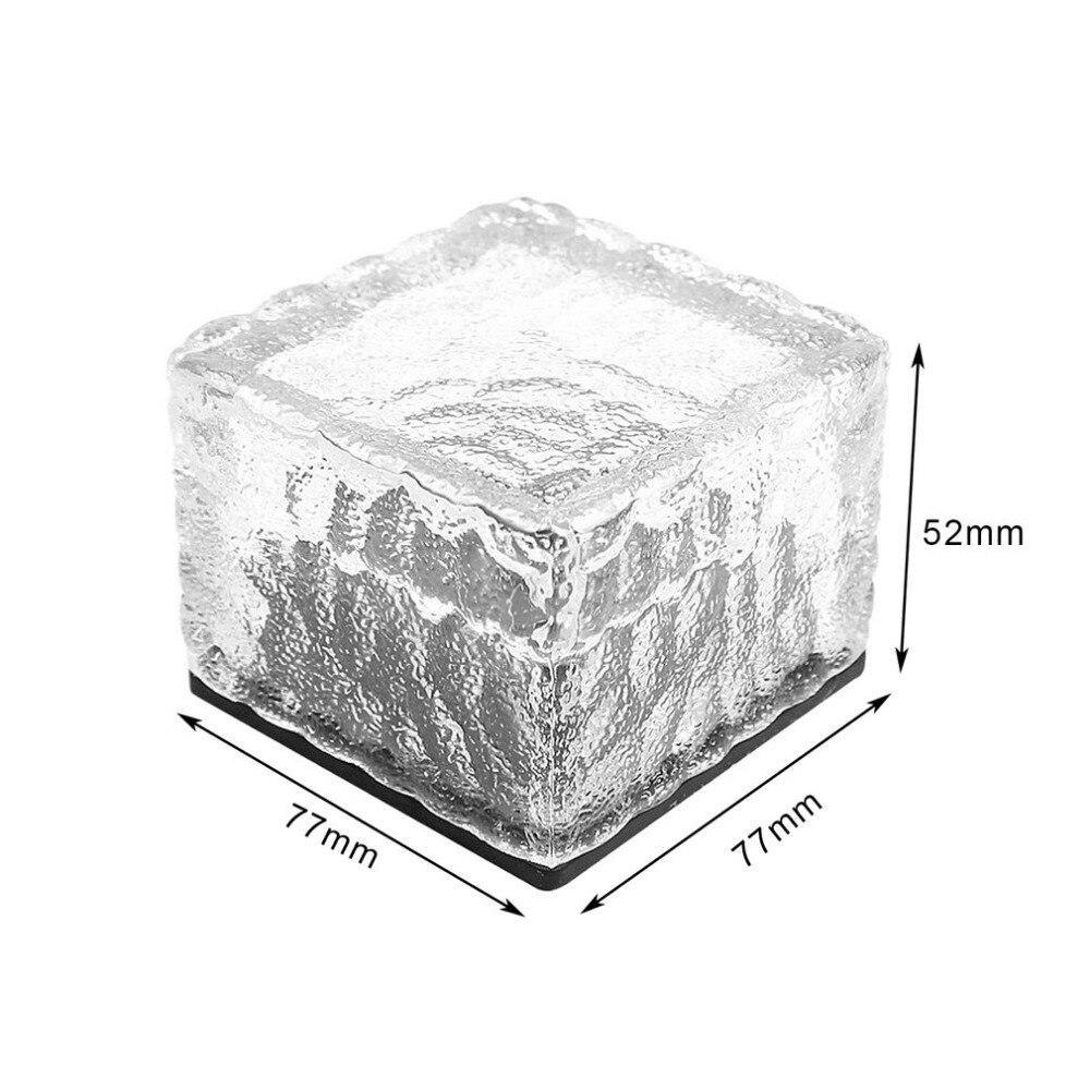 Led Underground Lamps Waterproof Solar Power Led Ground Crystal Glass Ice Brick Shape Outdoor Yard Garden Deck Road Underground Light