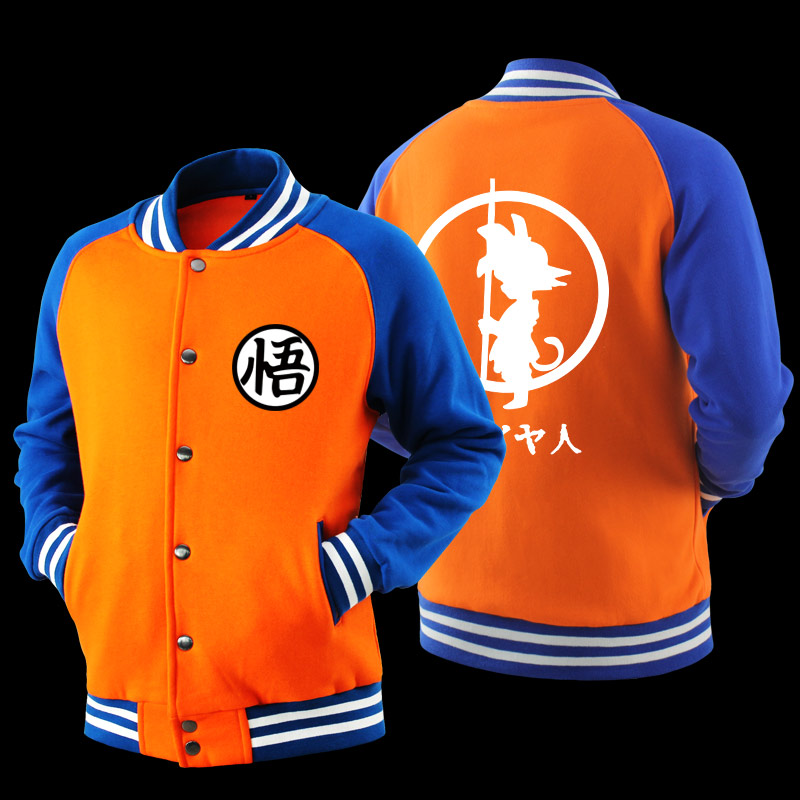 Anime Japanese Dragon Ball Z Goku Saiyan Varsity Jacket Autumn Casual Jacket Sweater Hooded Jacket Baseball Jacket