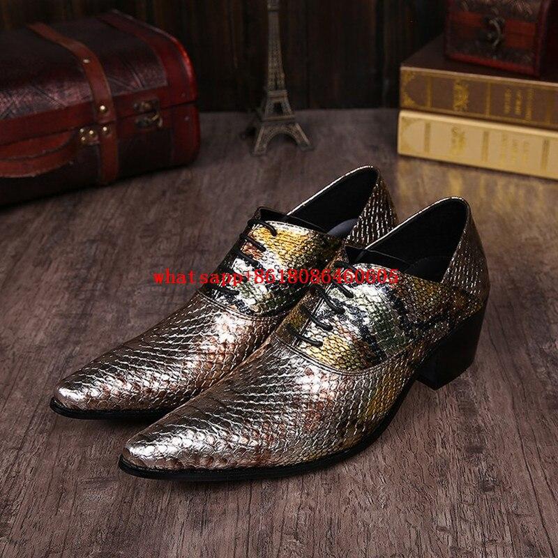Здесь продается  2017 luxury brand snake skin leather mens shoes high heels pointed toe oxfords glitter dress wedding shoes size12  Обувь