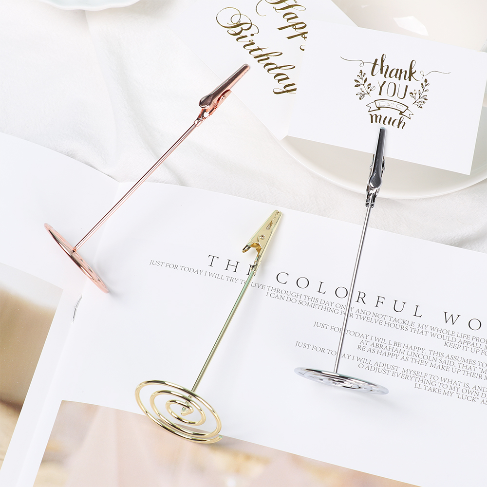 Fashion Desktop Decoration Place Card Holder Romantic Rose Gold Clamps Stand Metal Photos Clips Wedding Table Number Stand