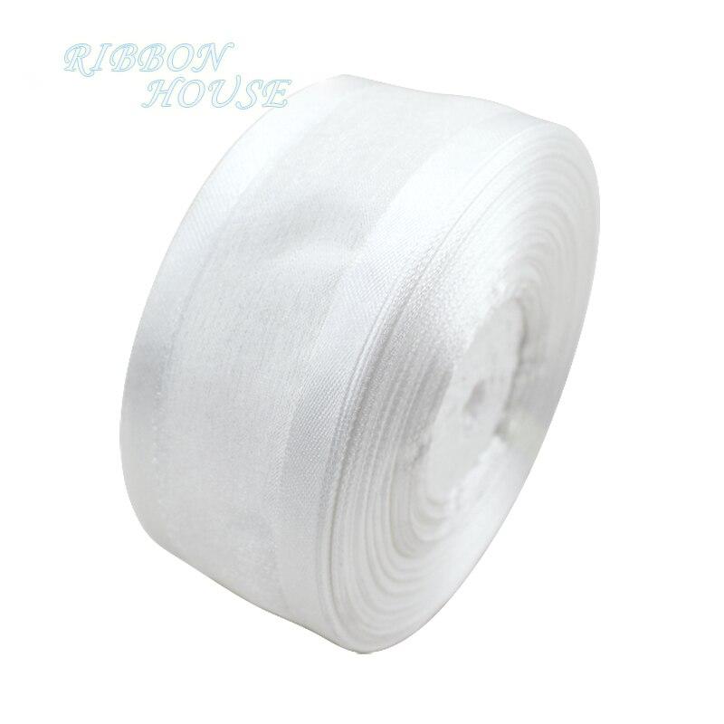 (50 ярдов/рулон) Белая лента из органзы Broadside оптовая продажа подарочная упаковка украшения ленты