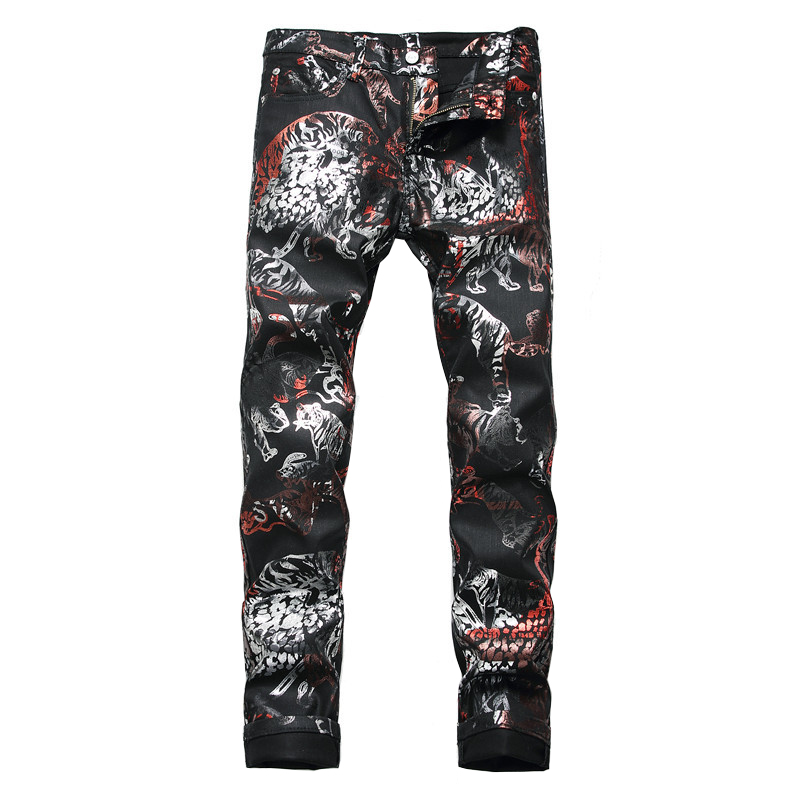 Sokotoo Men's Tiger Animal Printed Coated Jeans Fashion Slim Fit Black Painted Stretch Pants