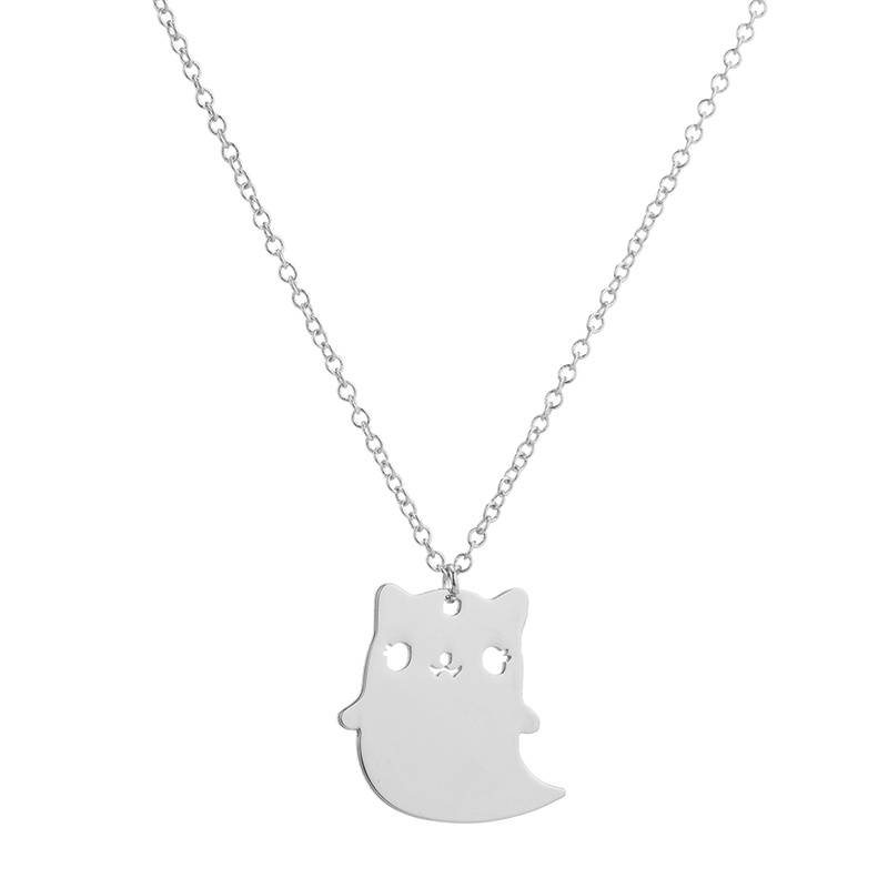 Yiustar Cat Necklace Hollow Origami Chain Pendant Necklace Fashion Necklace Animal Cartton Necklace For Women Jewelry Gift XL346