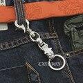 Skull Hook 925 Sterling Silver Bull Dog Mens Biker Rocker Punk Keychain Belt Clip 9T022
