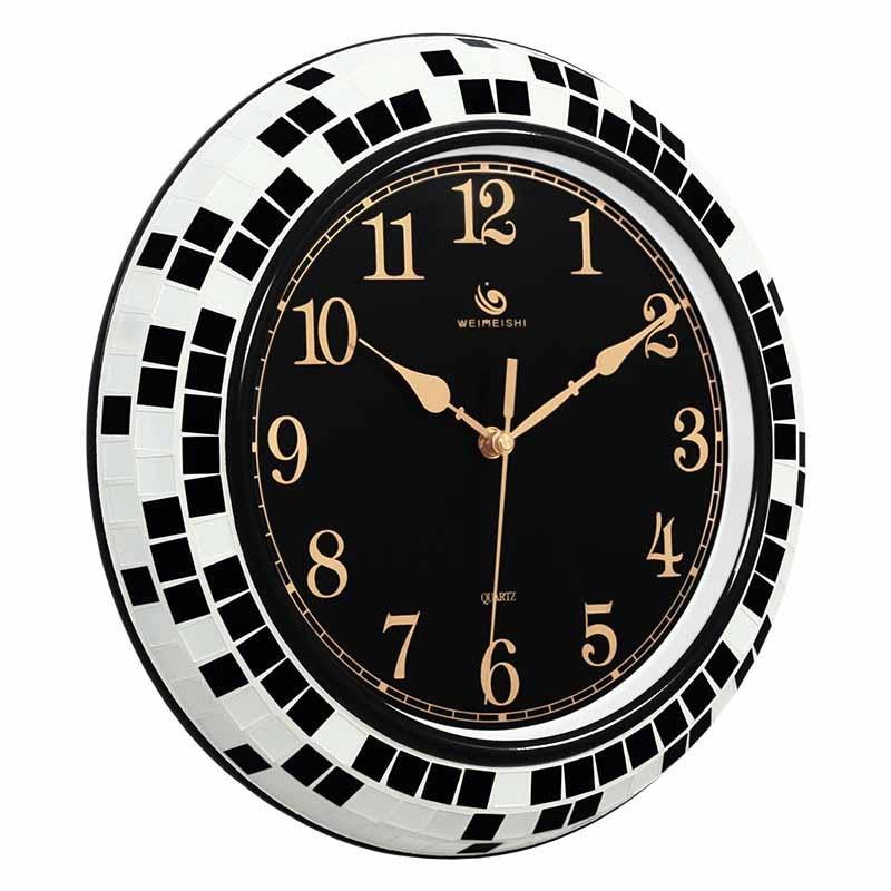 壁時計現代のミニマリズムリビングルームのサイレント創造的人格黒と白、青地中海クォーツ時計  グループ上の ホーム&ガーデン からの 壁時計 の中 1