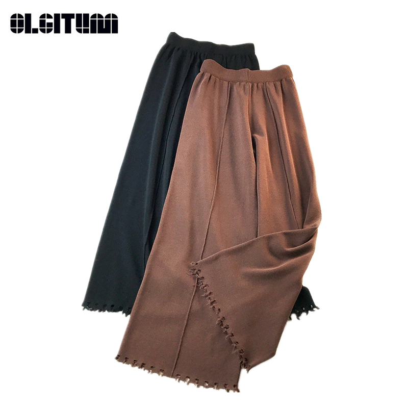 New Fashion 2018 Autumn/Winter Women Casual Straight Retro Soft Style Knit   Wide     Leg     Pants   High Waist Solid Long Loose   Pants
