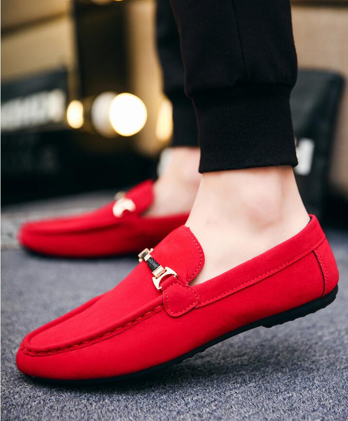 Men Shoes Loafers Moccasins Driving Suede Luxury Brand Slip On Red Casual Homme Male