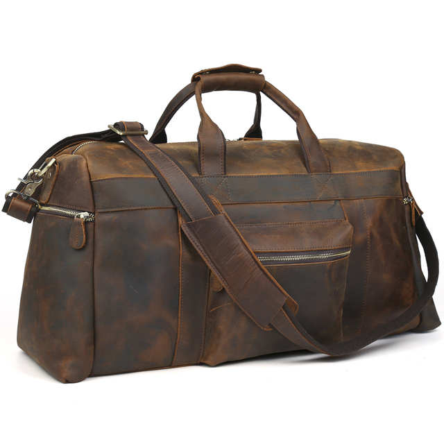 3896b33bfb6 TIDING Genuine leather travel bag men duffle bag large capacity weekend bag  with shoulder strap 10986
