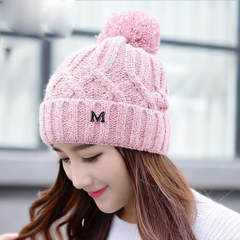 New Women's Winter Hat Female Knitted Warm Fleece Hats Ladies Bonnet Bonnets en laine casquette Winter hats for Women HG4709 2017 winter women beanie skullies men hiphop hats knitted hat baggy crochet cap bonnets femme en laine homme gorros de lana