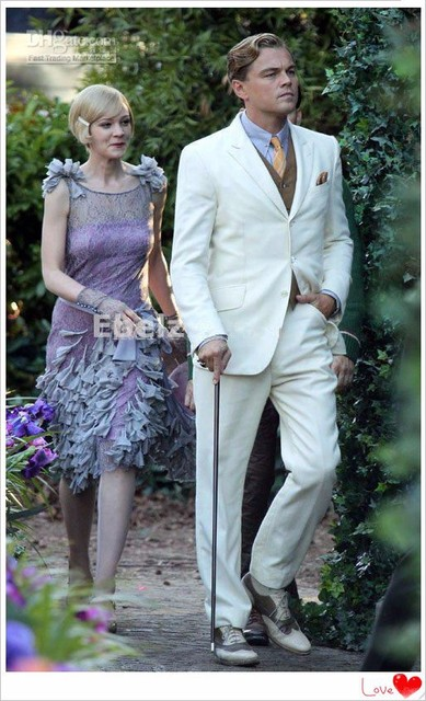 The Great Gatsby Movie Tuxedos For Groom Notched Lapel Men S Wedding Suits Dress Up Party Casual