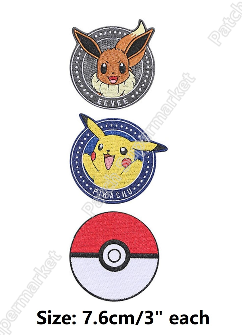3 Pokemon Go Pikachu Eevee Starters Embroidered iron on patches applique badge emblem Costume Cosplay DIY