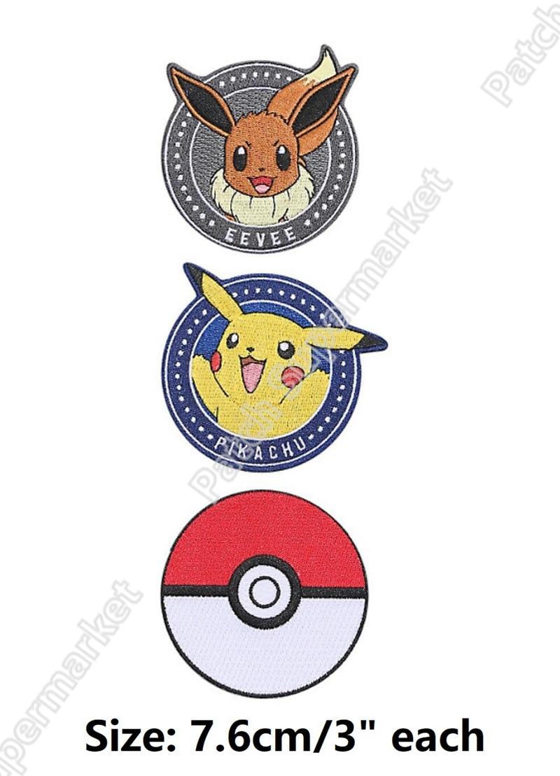 """3 """"Pokemon Gehen Pikachu Eevee Starter Stickte eisen auf flecken applikationen abzeichen emblem Kostüm Cosplay DIY-in Aufnäher aus Heim und Garten bei  Gruppe 1"""