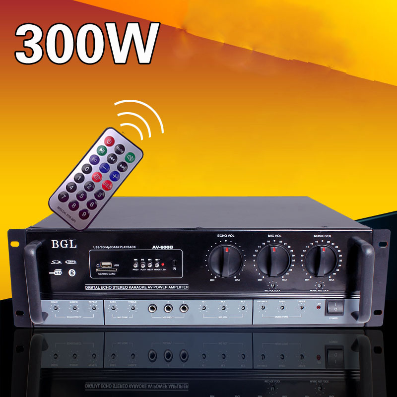 Professional stage sound 2.0 Bluetooth amplifier high power KTV HIFI home amplifier AV-600B bta212 600b to 220