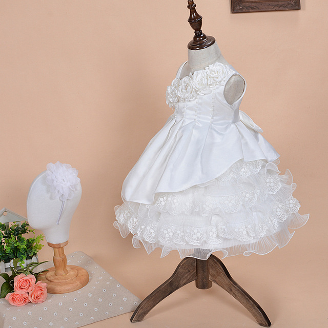 2016 1 Year Girl Baby Birthday Dress Christening  Party Dress Baptism Gowns Girls