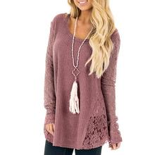 Fashion Knitted Sweater Women Casual Long Sleeve O Neck Lace Patchwork Sexy Loose Pullover Tops Women Pull Femme  WS3539O