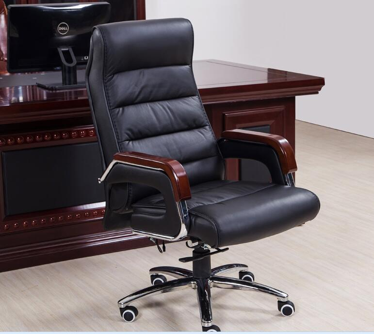 Купить с кэшбэком Home computer chair reclining lift boss chair leather swivel chair fixed armrest leather art office chair.