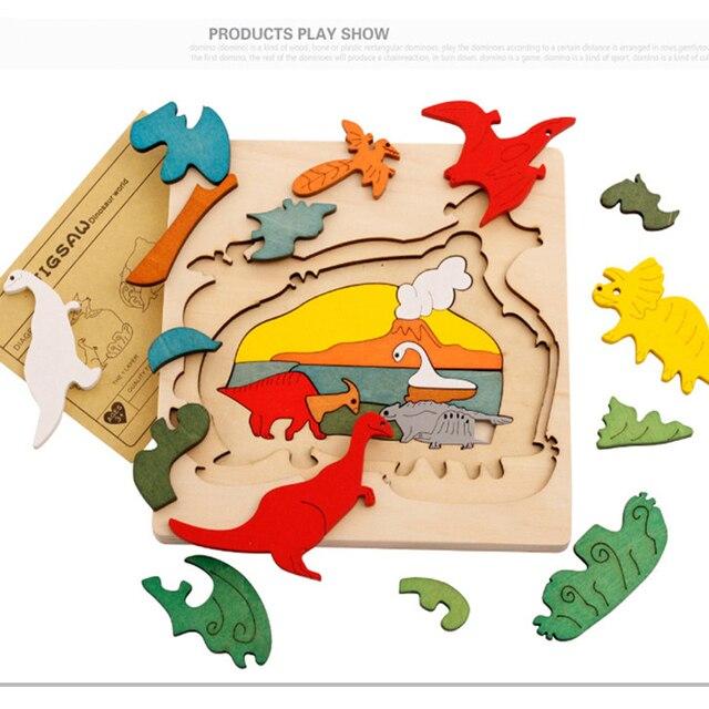 Rompecabezas de madera 3D Piezas para Bebés Niños Animales