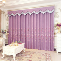 High grade garden purple embroidery bloom curtain screens living room bedroom floor window custom finished products