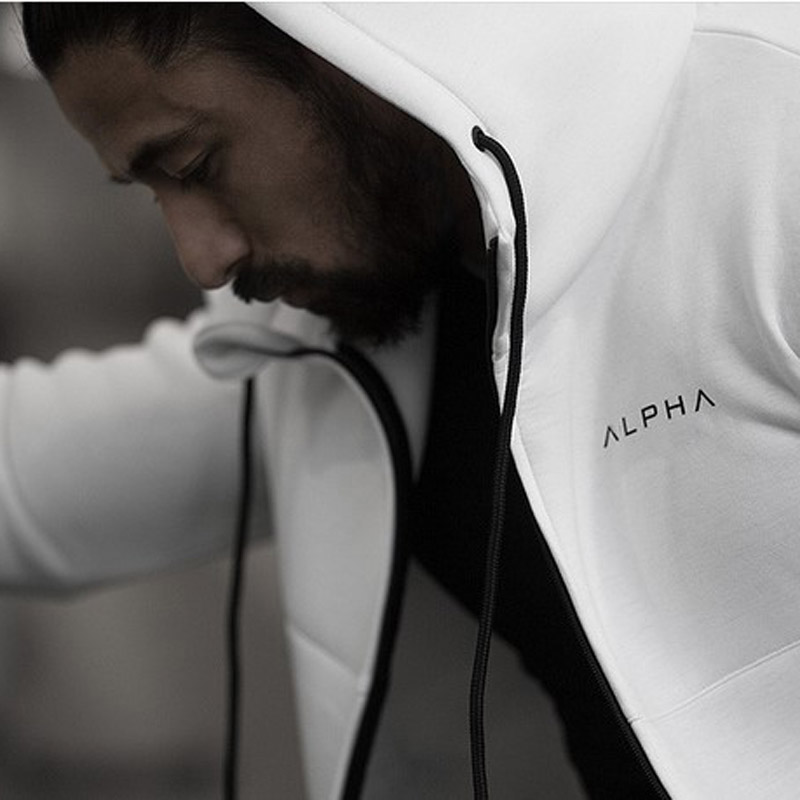 Alpha Men Gyms Hoodies Fitness Bodybuilding Sweatshirt  Zipper Sportswear Male Workout Hooded Jacket Clothing