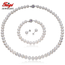 Genuine Natural Freshwater Pearl Jewelry Sets for Women 925 Sterling Silver Earrings Set with 7.5-8.5mm White Pearl Fine Jewelry snh 925 sterling silver set natural freshwater pearl jewelry set bridal wedding jewelry set necklace earrings set for women