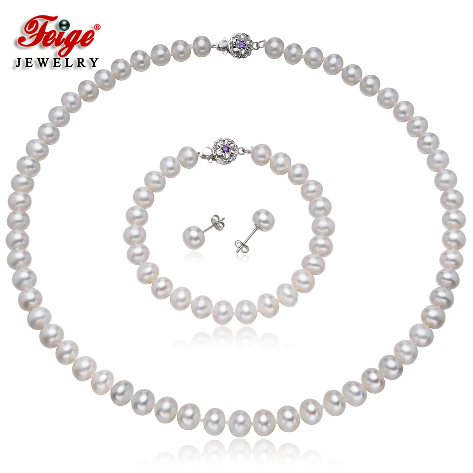 Classique perle d'eau douce bijoux ensembles pour femmes cadeau de mariage 7.5-8.5MM blanc perle 925 argent boucle d'oreille ensemble bijoux de mariée FEIGE